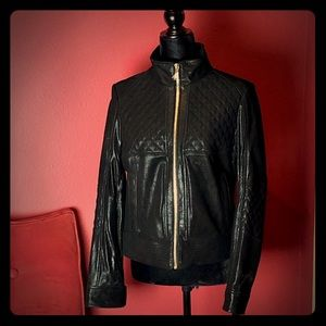 NWT Neiman Marcus Quilted Leather Moto Jacket